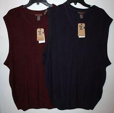 Size 2X Maroon/Navy Blue Sweater Vest Extra Soft Fine Gauge by Dockers $16.99 each