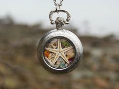 Silver locket necklace Sea locket necklace Beach by Maristella890