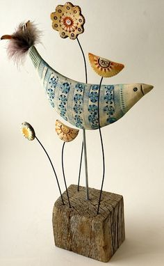 bird + flowers - paper mache + wire