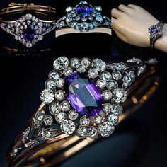 Romanov_Russia. An antique Russian gold bangle bracelet from the early 1900s features a 12 carat amethyst framed by almost 6 carats of old cut diamonds set in silver and flanked by two silver garlands embellished with rose cut diamonds.