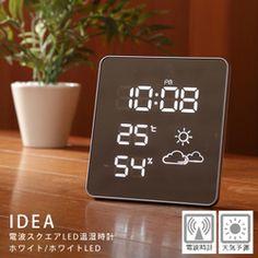 【楽天市場】【販売終了】送料無料◆IDEA イデア電波スクエアLED温湿時計(ホワイト/ホワイトLED) LCR112-WH/WHLED電波時計/置き時計/掛け時計:グッドデザインのグデザ