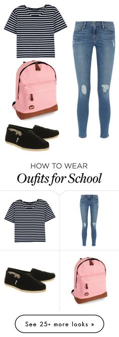 """OOTD school • Monday"" by bos-courtney on Polyvore featuring TOMS, Frame Denim and Mi-Pac"