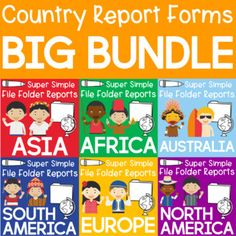 Students will travel the globe as they research and complete file folder reports for 75 different countries! These country report forms are the perfect way to get your students to explore new people and places. The super simple forms are easy to use, require no prep, and produce a professional looking #geography project. Cuba Country, Country Report, Race Around The World, Unit Studies, Teaching History, File Folder, Cover Pages, Super Simple