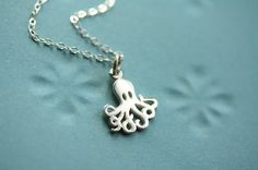 Small Octopus Necklace, Sterling Silver Octopus Pendant, Miniature Octopus Charm Necklace, Nautical Jewelry, Sea Animal Nautical Necklace