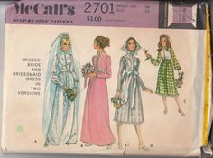 McCall's 2701 Style collar high neckline ©1970; Misses' Bride & Bridesmaid Dress Sewing Pattern in two Versions. No. 2701. High waisted dress has back zipper, lined skirt and lace ruffling or novelty trim. Sleeves gather into high cut armholes. Cuffs have snap closing. View A, C or D has front closing buttons and loops, ribbons tie. View D has matching scarf.