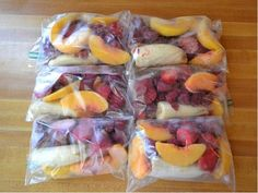 make frozen smoothie packets every sunday to last the whole week. I've not tried this but I'm interested in the idea.
