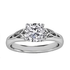 Engagement Ring - Cushion Diamond Triquetra Celtic Engagement Ring in... ($650) ❤ liked on Polyvore