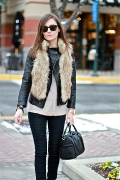 fake fur and leather jacket
