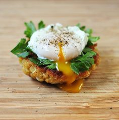 // quinoa cake with poached egg and parsley