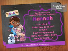 Doc McStuffins Birthday Invitation and matching thank you card DIY by LaurynGraceInvites. Printable Disney Doc McStuffins them birthday invite and thank you card.