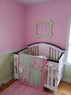 Baby girl room in pink and green