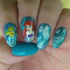 Little mermaid nails (not sure if I'm this talented)