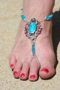 Turquoise Swirl Barefoot Sandals