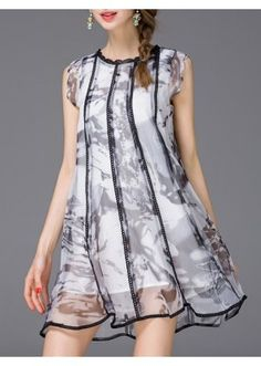 Office Wear White & Grey Georgette Western Wear Dress - 102089
