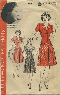 Vintage Sewing Pattern featuring Ruth Warrick of RKO Radio | Hollywood 888 | Year 1942 | Bust 32 | Waist n/a | Hip 35