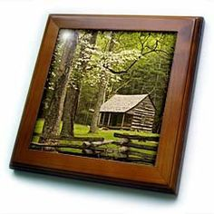 """Tennessee, Great Smoky Mountain NP, Cades Cove cabin - US11 JWL0271 - Joanne Wells - 8x8 Framed Tile by 3dRose. $22.99. Inset high gloss 6"""" x 6"""" ceramic tile.. Keyhole in the back of frame allows for easy hanging.. Solid wood frame. Dimensions: 8"""" H x 8"""" W x 1/2"""" D. Cherry Finish. Tennessee, Great Smoky Mountain NP, Cades Cove cabin - US11 JWL0271 - Joanne Wells Framed Tile is 8"""" x 8"""" with a 6"""" x 6"""" high gloss inset ceramic tile, surrounded by a solid wood frame with pre-drilled..."""