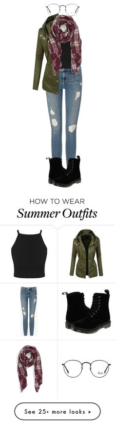 """Outfit 127"" by xkhione on Polyvore featuring Frame Denim, Dr. Martens, Sole Society and Ray-Ban"