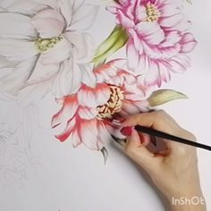 Heres another little floral painting I did this morning. I got a bit distracted watching the birds in our garden eat up Watercolor Painting Techniques, Watercolor Video, Fabric Painting, Painting & Drawing, Watercolor Paintings, Plant Painting, Food Painting, Floral Paintings, Oil Painting Flowers