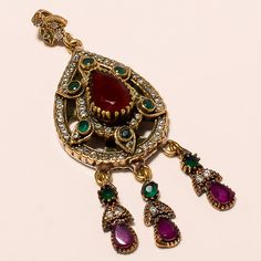 High Quality Turkish 925 Sterling Silver Gemstone Ruby Emerald Jewelry Pendant