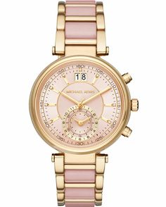 fe654a542d2f Michael Kors Women s Chronograph Sawyer Gold-Tone Stainless Steel and Blush  Acetate Bracelet Watch Jewelry   Watches - Watches - Macy s