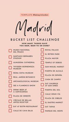 bucket list ideen Top Dinge, die man in Madrid unt - bucketlist Travel Checklist, Travel List, Travel Goals, Travel Hacks, Travel Guide, Madrid Travel, London Travel, List Challenges, Reisen In Europa