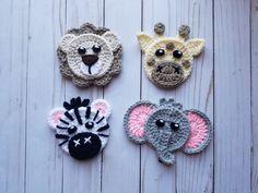 Animals of Africa Applique Pack- Crochet Pattern Only- Lion- Giraffe- Zebra- Elephant- Crochet Applique Pattern - Crochet Animals of Africa Applique Pack- Crochet Pattern Only- Lion- Giraffe- Zebra- Elephant- Crochet Applique Pattern - Crochet Baby Blanket Crochet, Crochet Baby, Free Crochet, Crochet Lion, Crochet Applique Patterns Free, Baby Knitting Patterns, Crochet Crafts, Crochet Projects, Diy Crafts