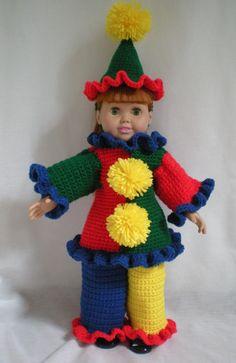 "PDF File American Girl 18"" Doll Crochet Pattern Circus Clown New Design. $5.00, via Etsy."