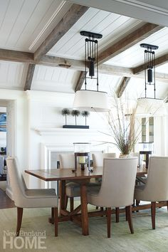Patrick Ahearn Martha's Vineyard Dining Room...I love the ceiling treatment & fireplace for our family room