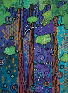 Jill Dubbeldee Kuhn, California Trees-Acrylic on canvas 18x24