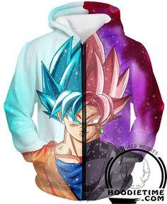 Dragon Ball Super Z - Super Saiyan Rose Black Goku And Super Saiyan Blue - Zip-Up 3D Hoodie