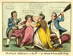 The female politicians or the D-ss defending the honour of old corny.  1 March 1801 Hand-coloured etching, partly aquatinted. FOR DESCRIPTION SEE GEORGE (BMSat)  Hand-coloured etching, partly aquatinted