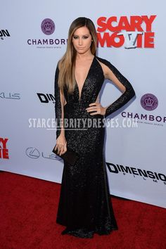 Ashley Tisdale Black Sequin Semi-Formal Evening Dress Scary Movie 5 LA Premiere