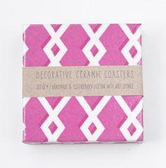 Geometric Hot Pink Ceramic Coasters set of 4