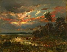 Mare au Crépuscule, Theodore Rousseau. French Barbizon School Painter (1812 - 1867)
