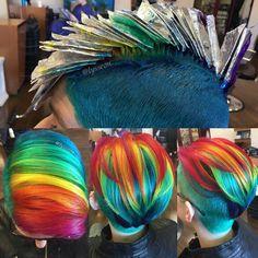 Rainbow hair inspooo , colors in foils. Simple easy hair color