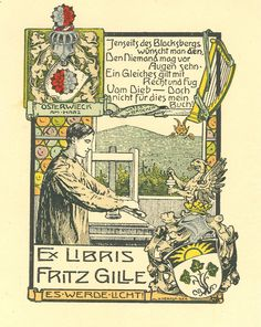Bookplate of Fritz Gille by Heinrich Nernst (early 20th century)