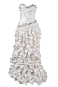 Lorena Sarbu Strapless Plus Size Wedding Dress w/ Sequins and a ruffy floor length skirt.