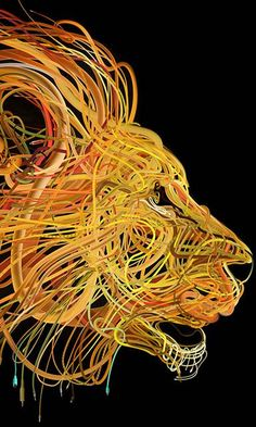 カラフルなケーブルが絡み合って1つの形に!複雑過ぎるイラストレーション作品 - 05