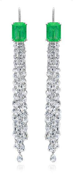 Nina Runsdorf 18K White Gold and Emerald and Diamond Fringe Earrings