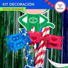 Candy bar Heroes en Pijamas para imprimir Los Pj Masks, Mask Party, Comfortable Fashion, Christmas Ornaments, Holiday Decor, Birthday, Bar, Napkin Holders, Fun Crafts