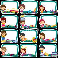 Illustration of blackboard frames clip art set vector art, clipart and stock vectors. Preschool Names, Preschool Activities, Classroom Labels, Classroom Decor, Free Vector Art, Vector File, Spongebob Birthday Party, Boarder Designs, Text Frame