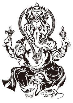 50 Beautiful Ganesha Tattoos designs and ideas With Meaning Ganesha Tattoos, Hindu Tattoos, Shiva Tattoo, Buddha Tattoos, Body Art Tattoos, Tribal Tattoos, Sleeve Tattoos, Geometric Tattoos, Lord Ganesha