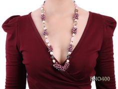 6-7mm mauve round freshwater pearl with round fluorite and crystal opera necklace big Image 7