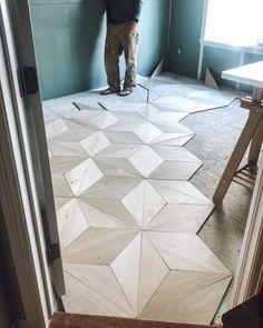 plywood flooring DIY Geometric Plywood F - Café Design, Deco Design, Floor Design, House Design, Diy Wood Floors, Diy Flooring, Painted Floors, Laminate Flooring, Stained Plywood Floors