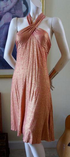 Vintage Diane Von Furstenberg Coral & Gold Metallic Halter Dress