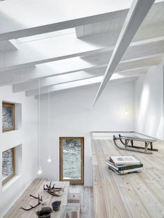 This modern stone house architecture in Northern Italy is a real jewel. Architect Alberto Vinotti (EV + A Lab) developed a Casa VI of old stone ruins. Sustainable Architecture, Interior Architecture, Interior Design, Stone Cabin, Light Hardwood Floors, Rural House, Mini Clubman, Cabin In The Woods, Study Rooms
