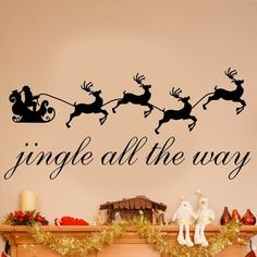Winston Porter Jingle All the Way Christmas Wall Decal Size: Wall Decals For Bedroom, Bed Wall, Vinyl Wall Decals, Wall Stickers, Bedroom Decor, Christmas Tree Vinyl, Beautiful Lettering, Love Wall Art, Dream Wall