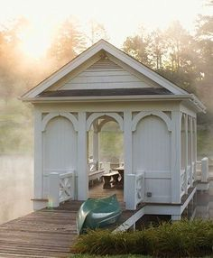 Boat house, or gazebo - pretty wood trim Cabana, Gazebo, Wedding Destination, Wedding Venues, Lake Life, Architecture, My Dream Home, The Great Outdoors, Outdoor Living