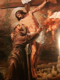 Jesus reaching down from the Cross to embrace St. Francis of Assisi Catholic Art, Catholic Saints, Patron Saints, St Francis Assisi, Saint Francis, Patron Saint Of Cats, St Francisco, Clare Of Assisi, St Clare's