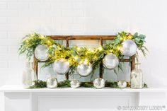Mix shiny, matte & glitter bulb ornaments with greenery to create stunning Christmas focal pieces and place settings!